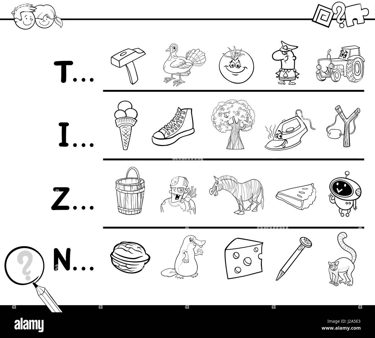 Ilustracion De Dibujos Animados De Encontrar Imagen Comenzando Con