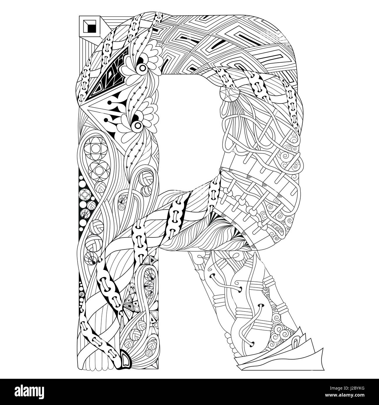 Letra R Para Colorear Vector Zentangle Objeto Decorativo