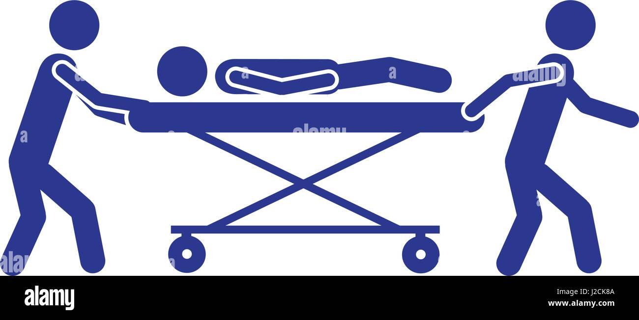 Pictograma blanco sobre fondo azul paramédicos con el