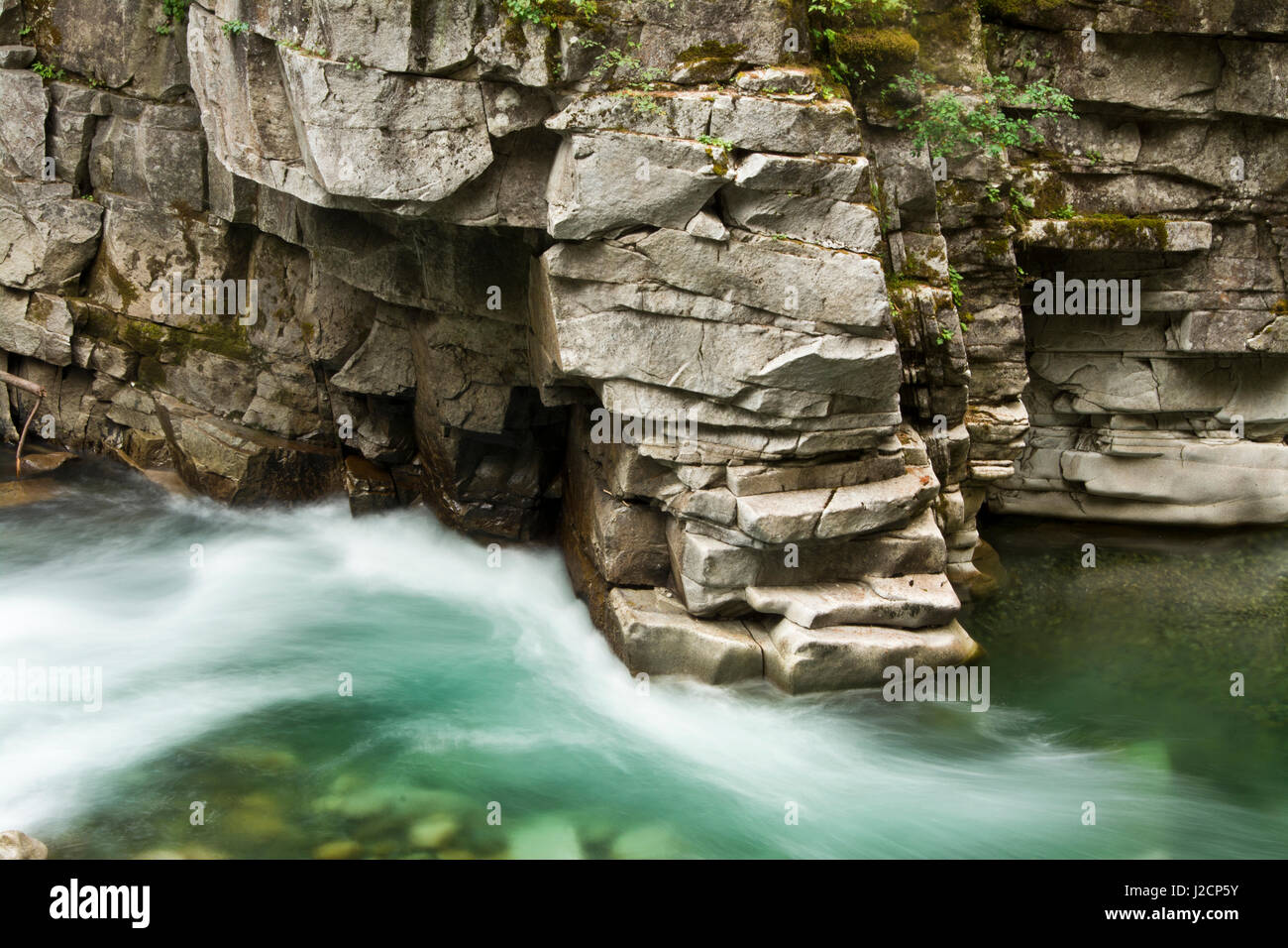 Río Coquihalla Coquihalla River Provincial Park, Coquihalla Canyon, Esperanza, British Columbia, Canadá Foto de stock