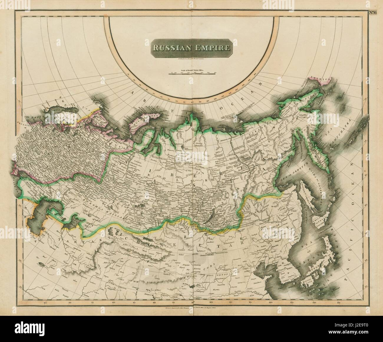 Imperio Ruso Rusia En Asia Y Europa En Siberia Thomson 1817 Viejo Mapa Fotografia De Stock Alamy