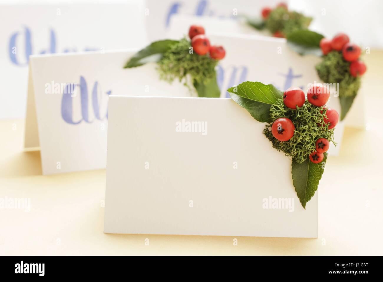 Wedding Place Name Cards Handwritten Imágenes De Stock