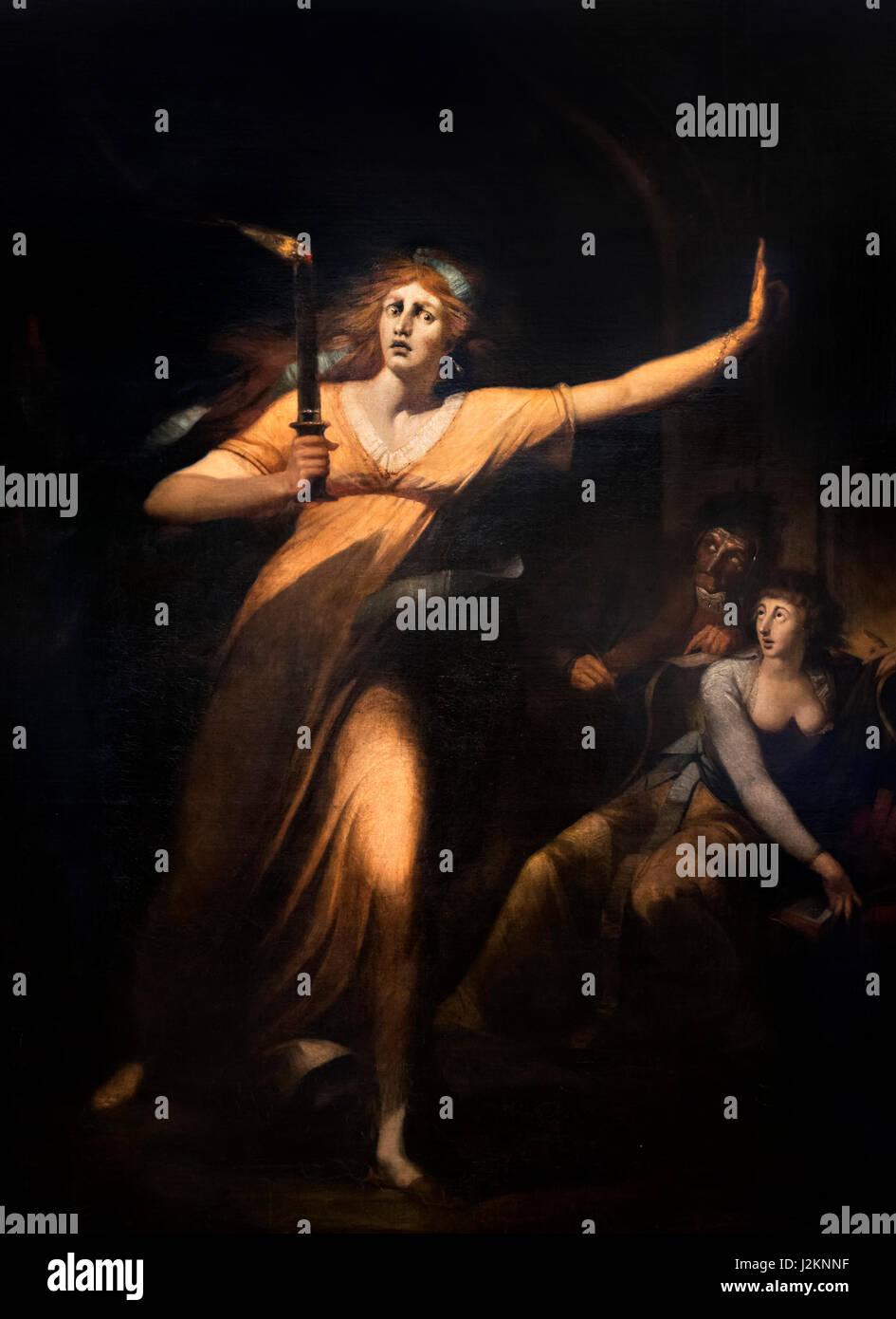 Lady Macbeth sonambulismo por Henry Fuseli (Johann Heinrich Füssli; 1741-1825), c.1784. La pintura representa Imagen De Stock