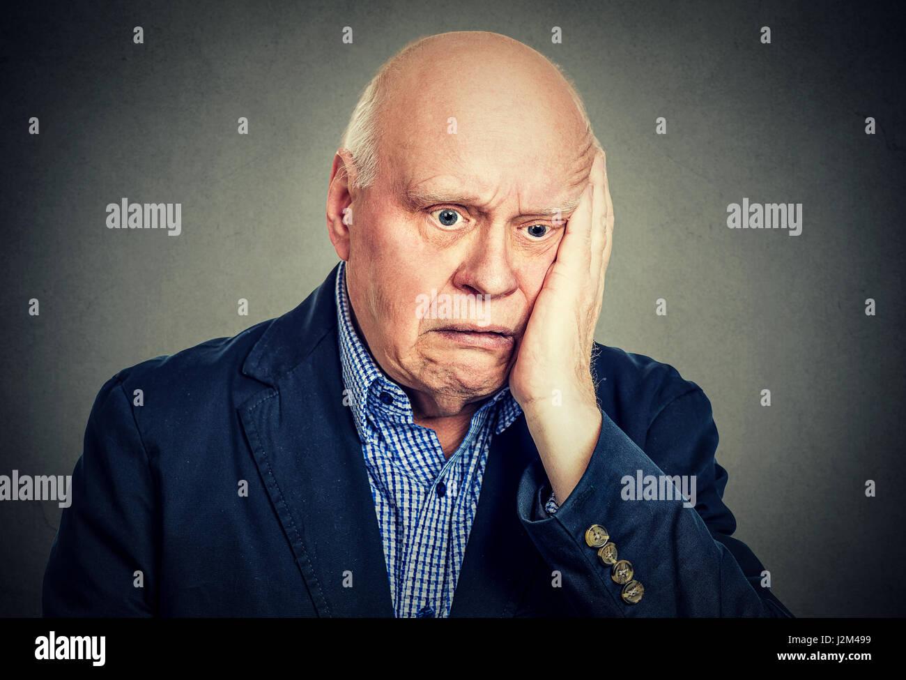 Retrato de ancianos desesperados triste Imagen De Stock