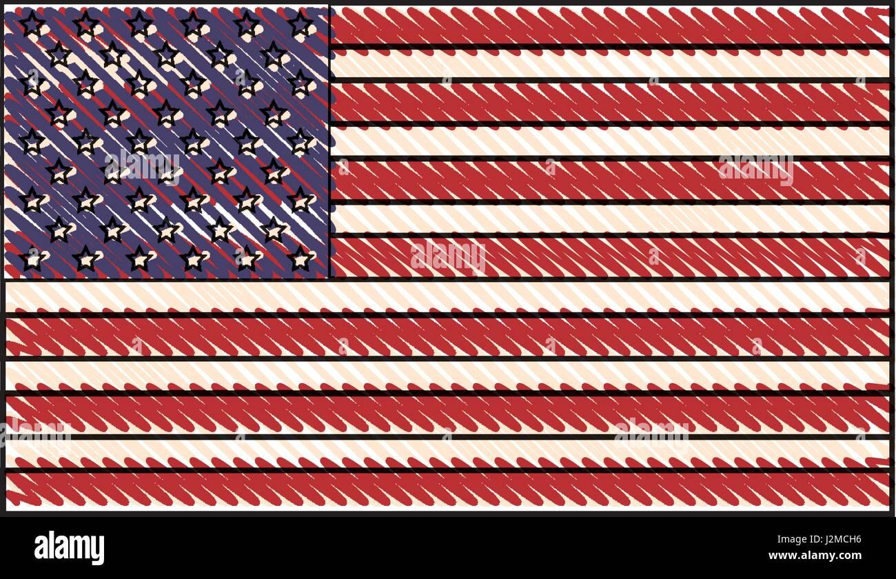 Dibujo De Bandera De Estados Unidos De América Ilustración Del