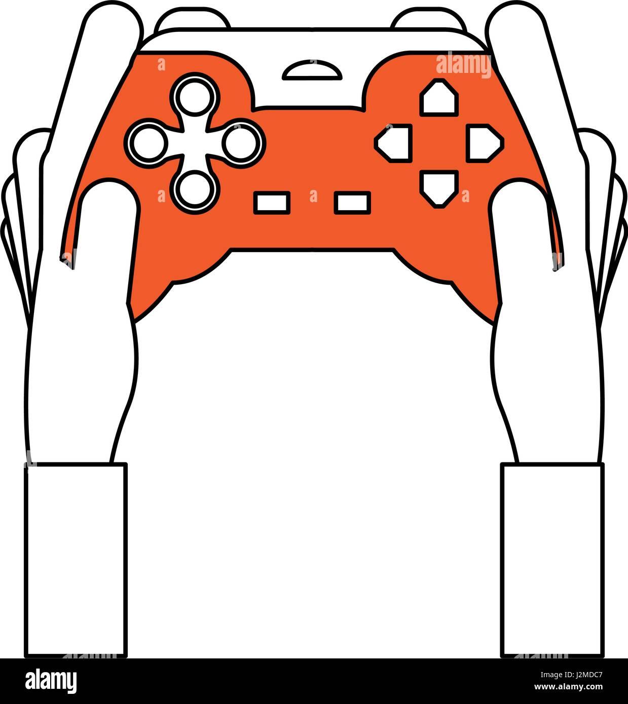 Color De Dibujo Silueta De Manos Sosteniendo Un Mando Para Juegos De