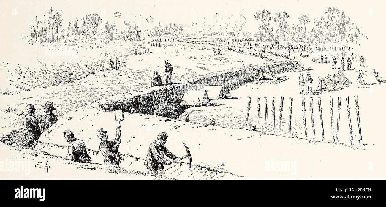 Vista de la Unión sobre el frío Breastworks Harbor Line, 1 de junio de 1864 guerra civil EE.UU. Imagen De Stock