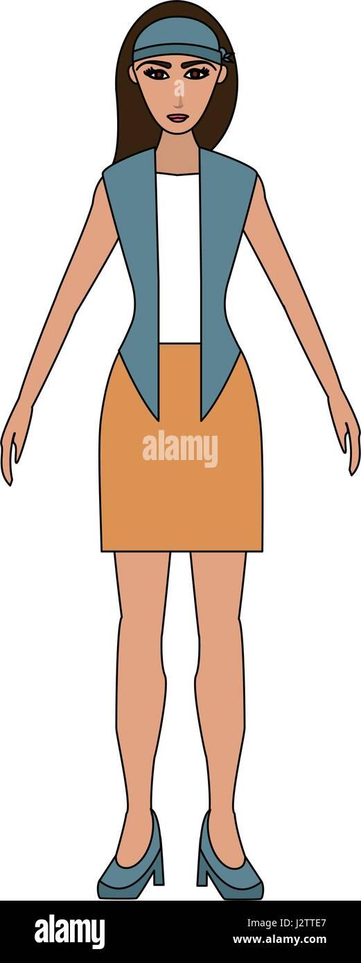 Color de cuerpo completo de dibujos animados imagen de mujer con ...