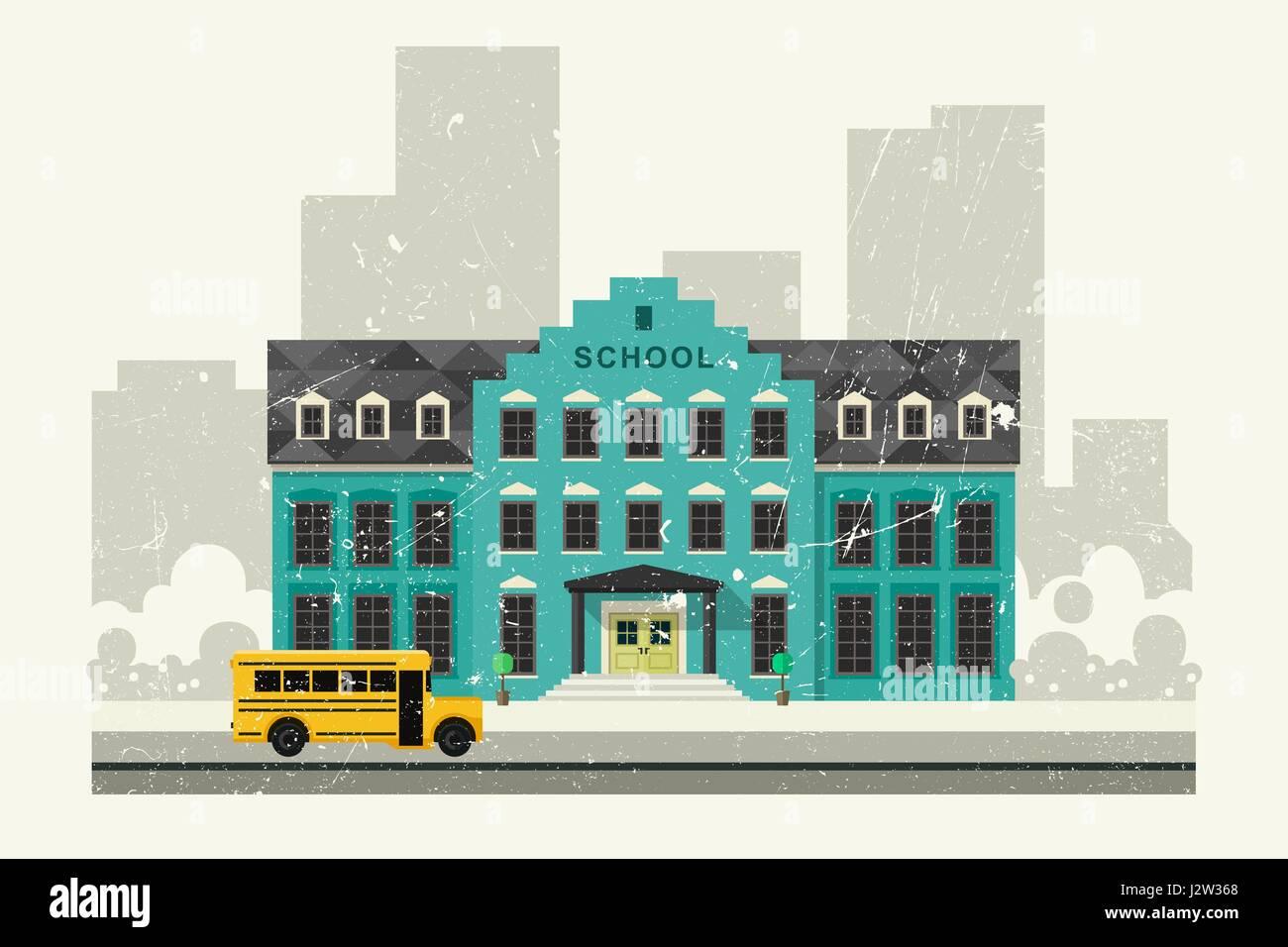 La escuela y el autobús amarillo Imagen De Stock