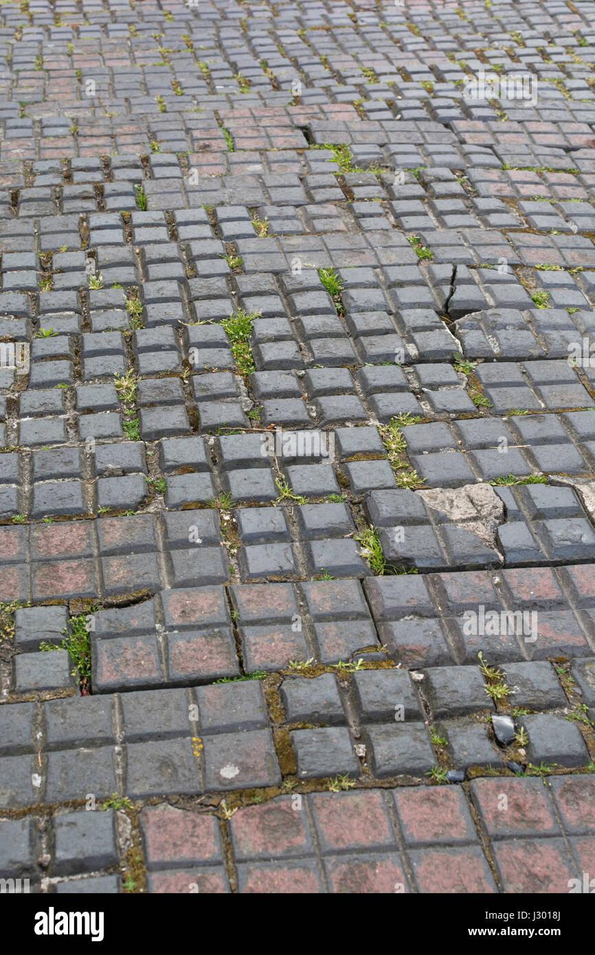 Sección de pavimento cuadrado en Truro, Cornwall. Imagen De Stock