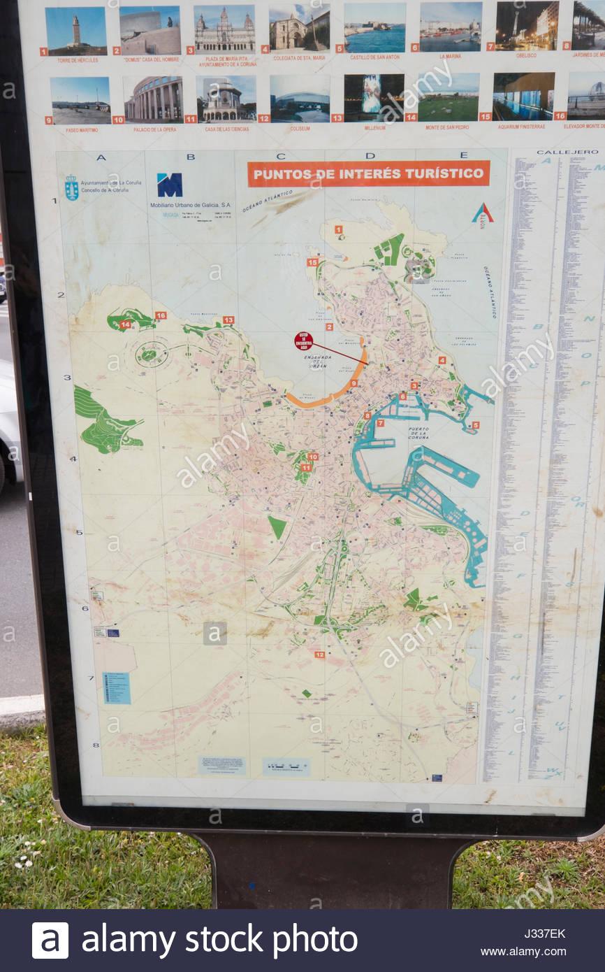 Mapa De La Coruña Galicia España.Mapa Con Puntos De Interes De La Ciudad A Coruna Galicia