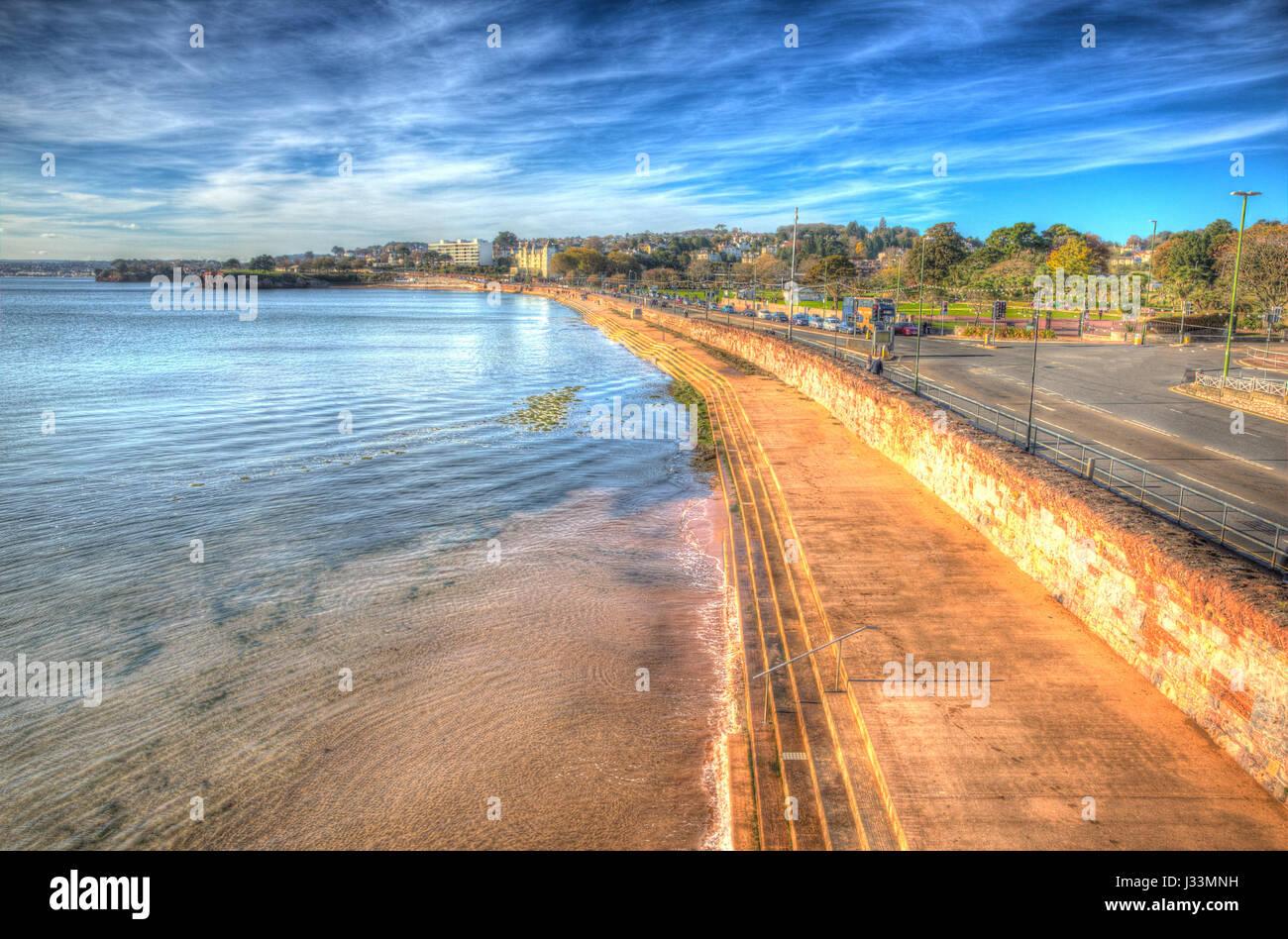 Torquay Devon promenade en la Riviera Inglesa en coloridos HDR Imagen De Stock