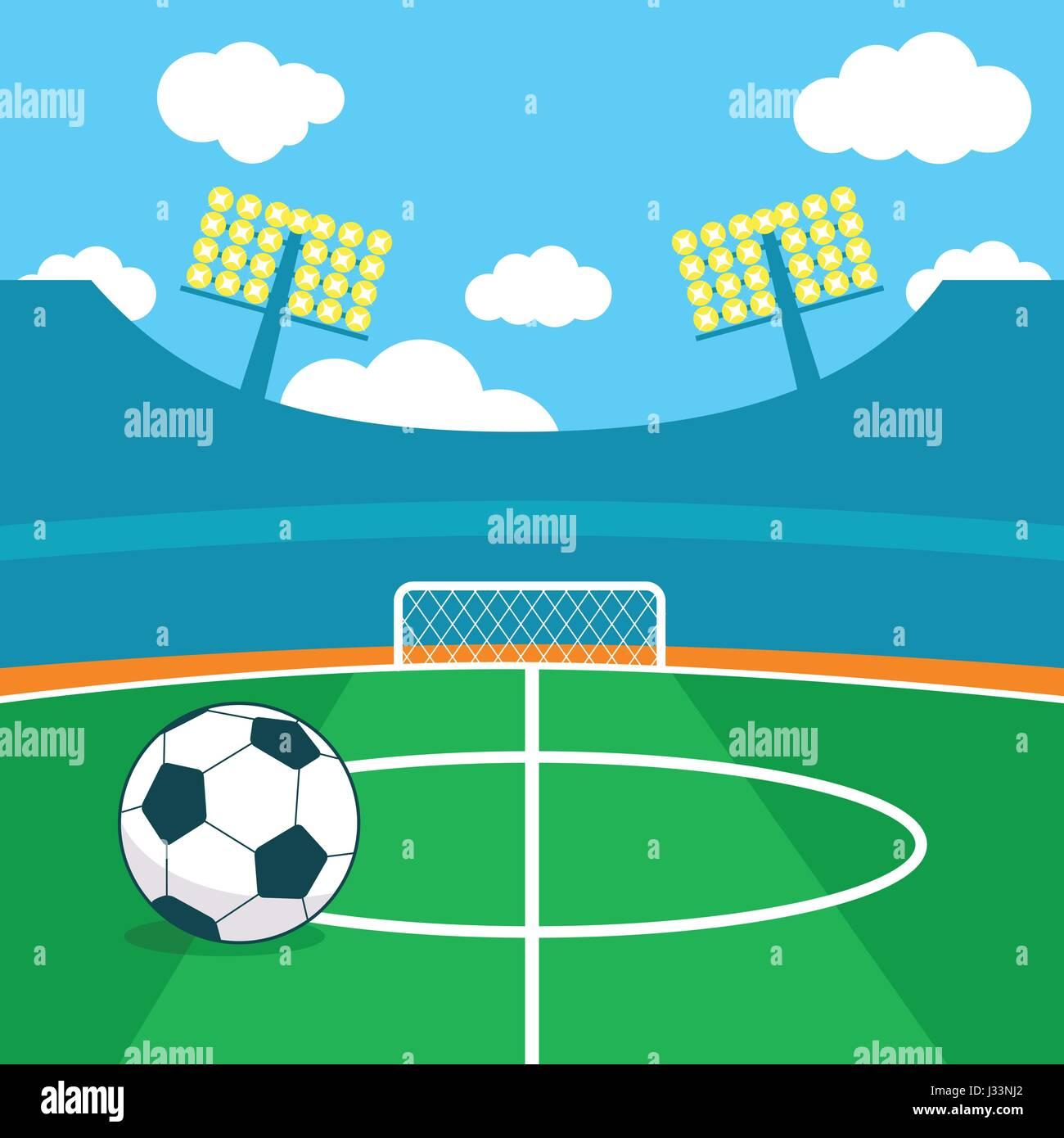 Estadio de fútbol y un balón de fútbol ilustración vectorial Imagen De Stock 70ee14c7312