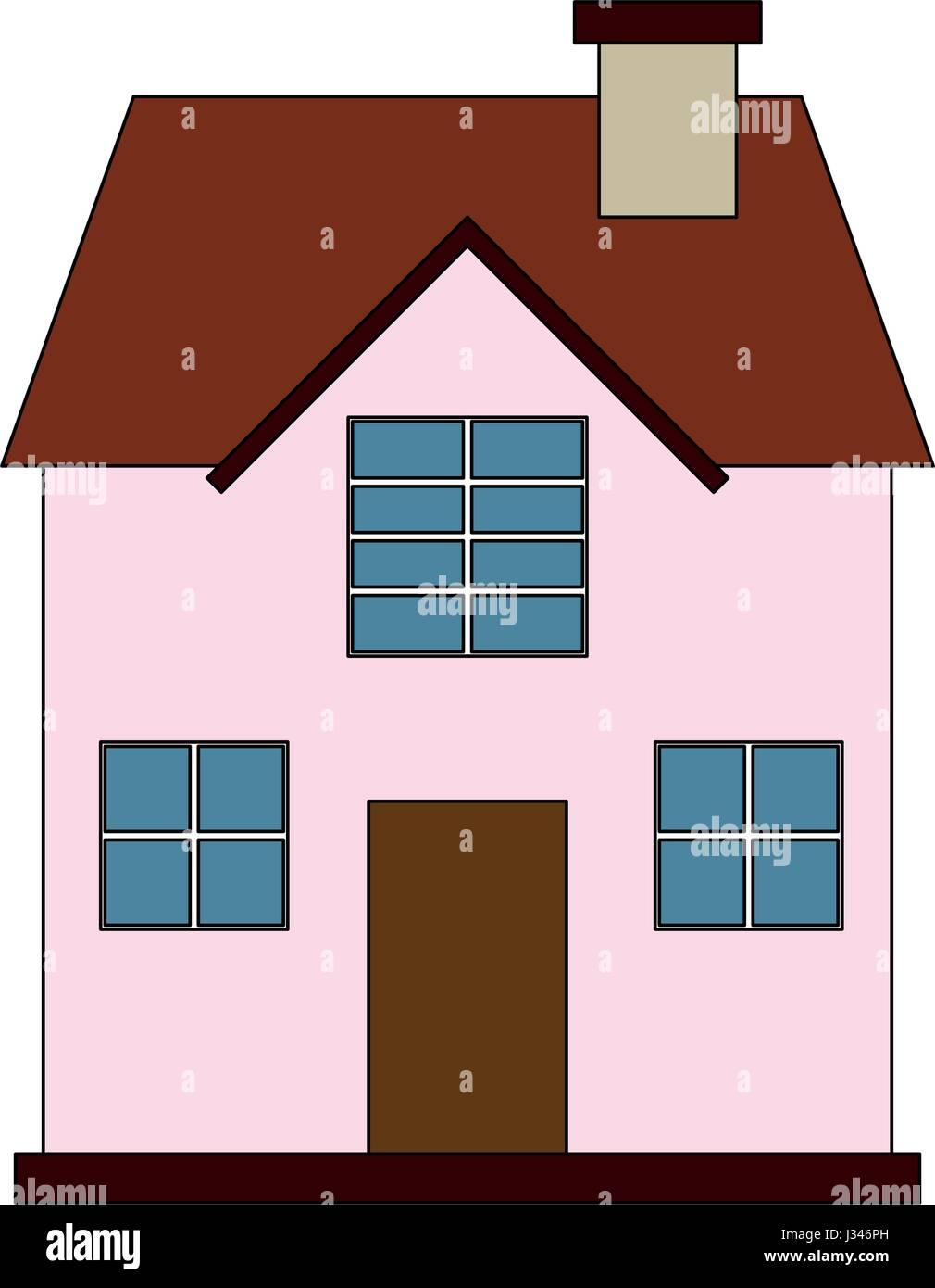 Fachada De Dibujos Animados Imagen Color Cómoda Casa De Dos Pisos