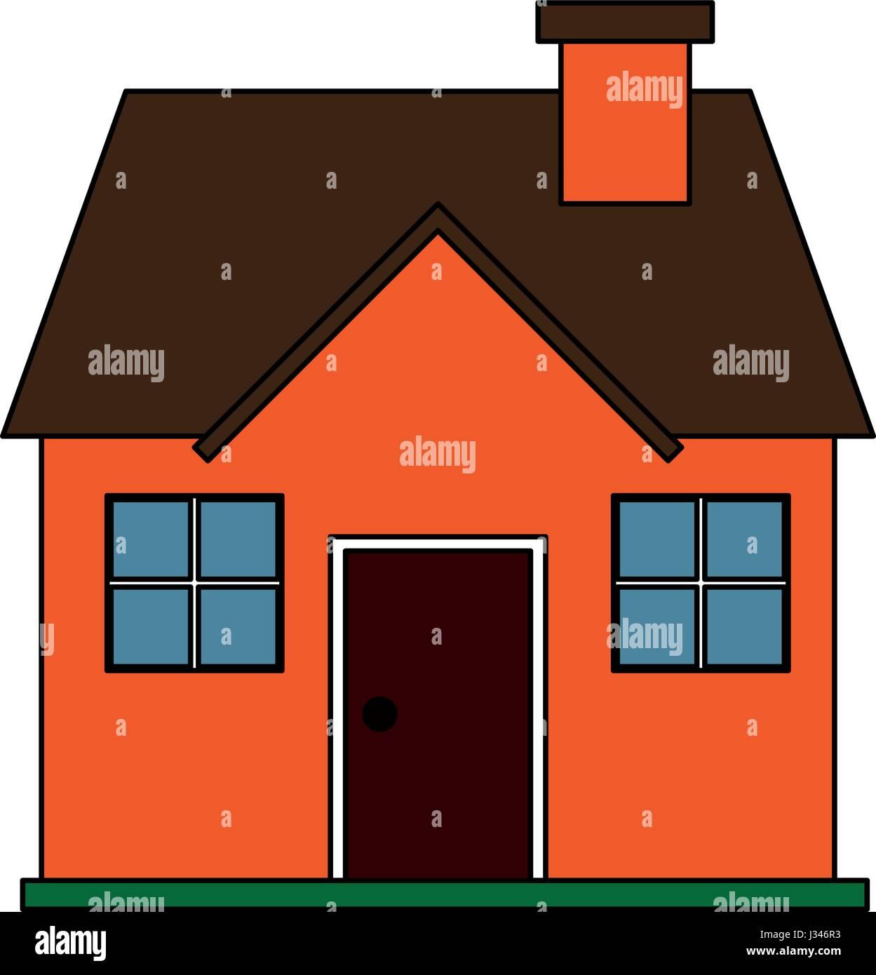 Fachada De Dibujos Animados Imagen Color Cómoda Casa Con Chimenea