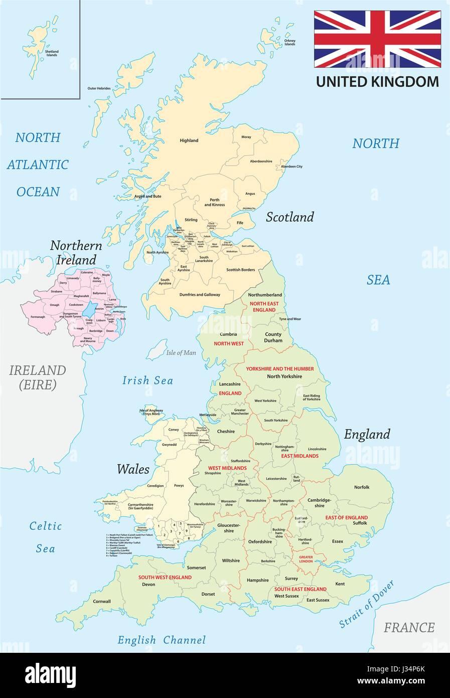 Reino Unido Mapa Administrativo Y Politico Con La Bandera