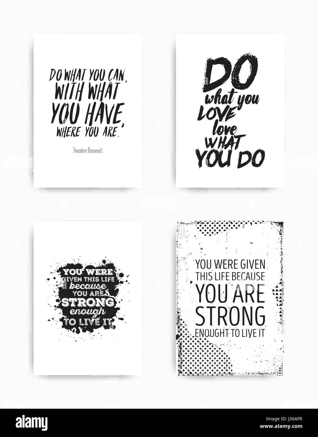 Un Conjunto De Cuatro Carteles Motivacionales Con