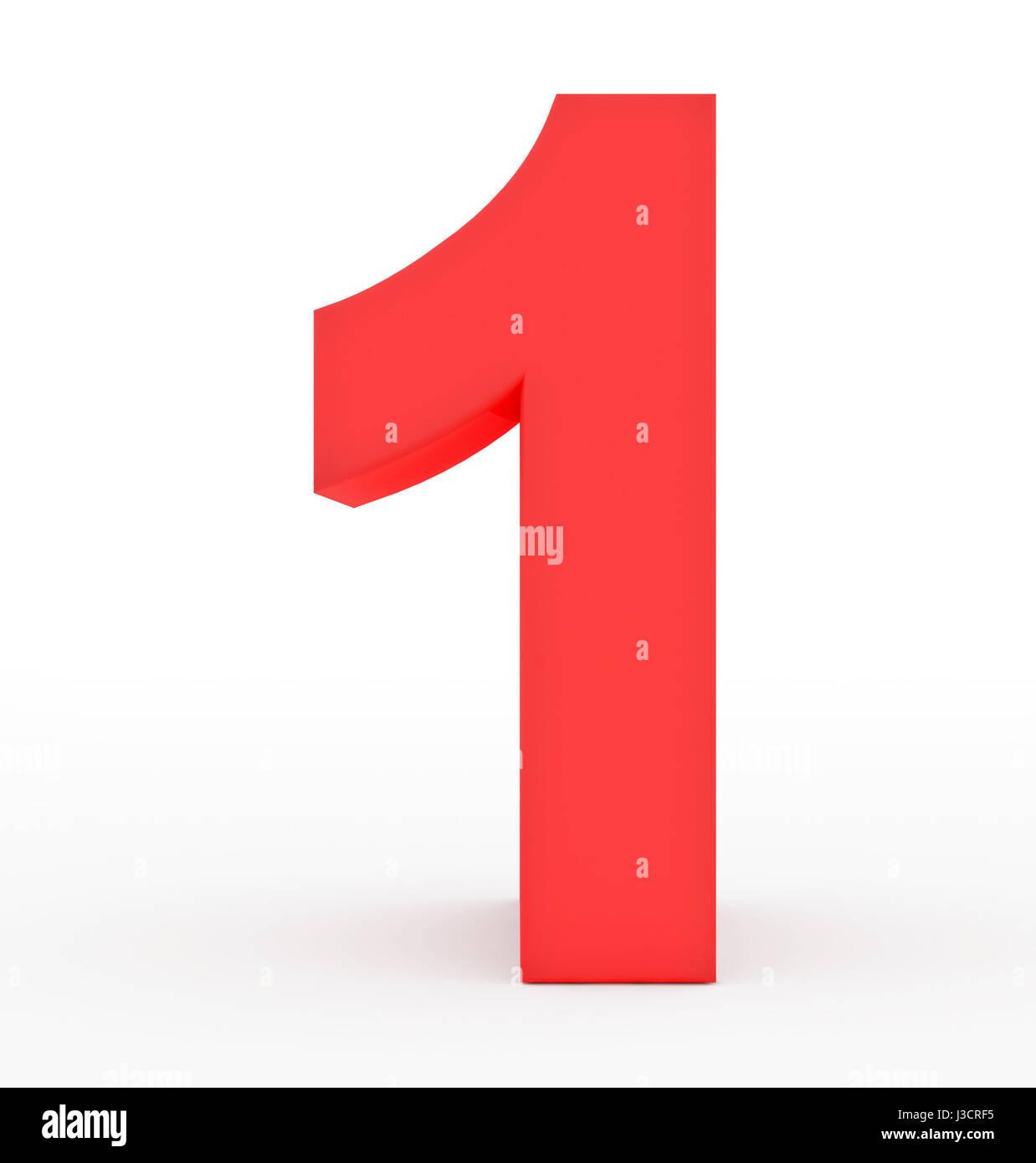 Número 1 3d rojo aislado en blanco - 3D rendering Imagen De Stock