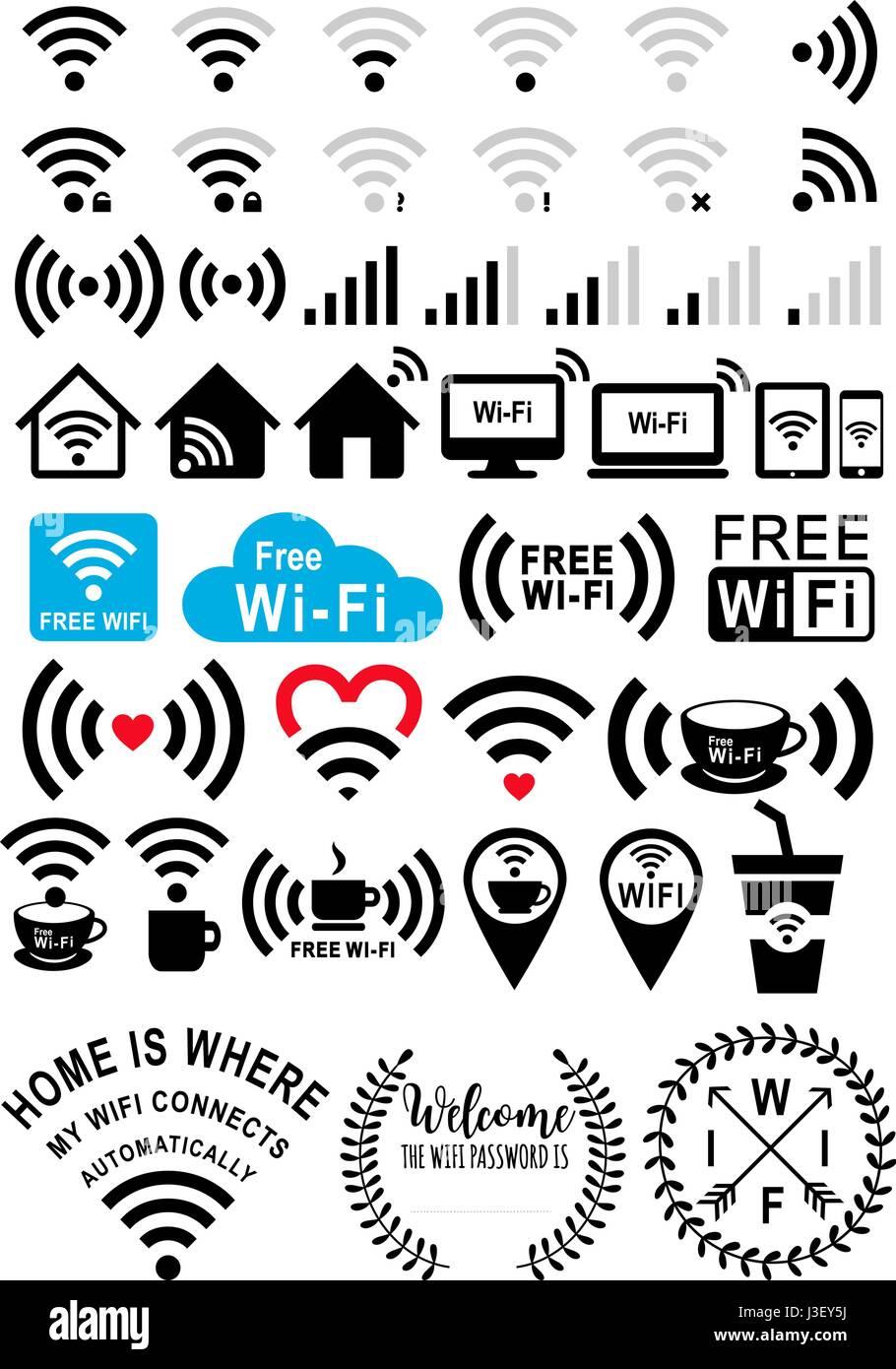 Señales Wifi iconos, wi-fi, café y zona wifi gratuita, un conjunto de elementos de diseño gráfico Imagen De Stock