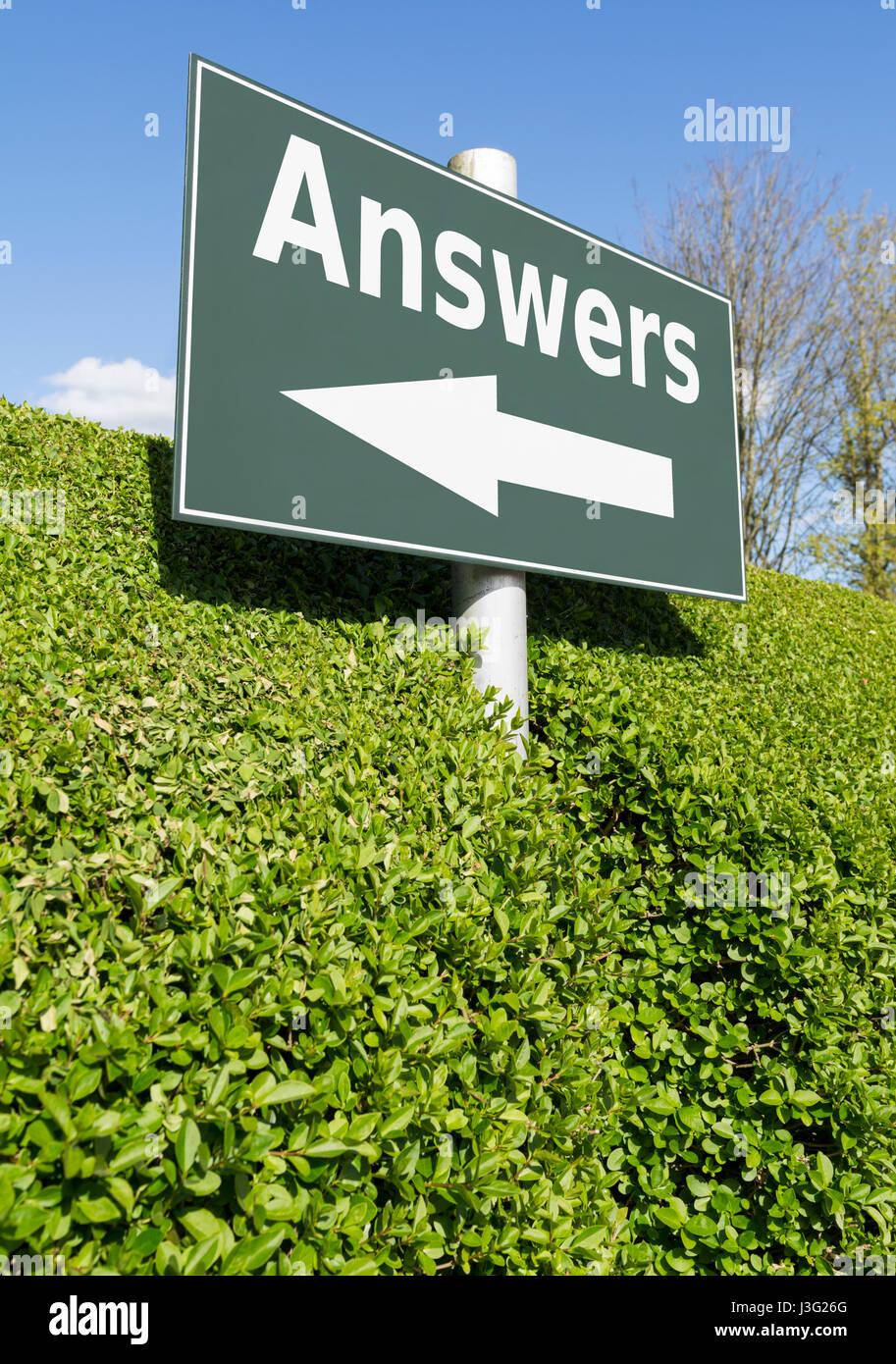 Concepto de respuestas. Signo de respuestas en un post. Imagen De Stock