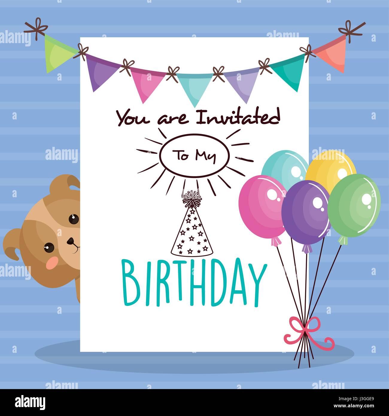Tarjeta de cumpleaños feliz con tierno animal Imagen De Stock