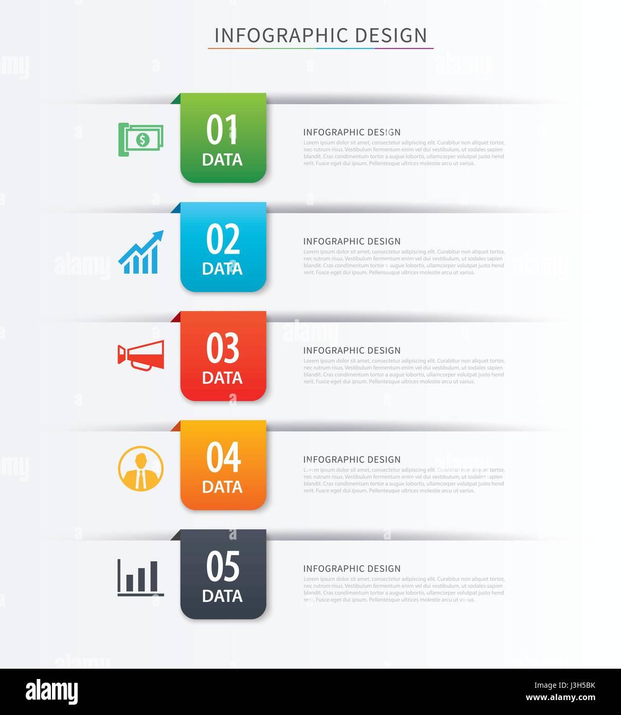 Índice de negocio infografía plantilla con 5 datos. Puede ser ...