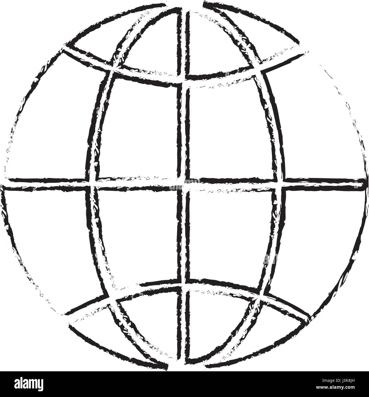 Símbolo mundial de línea al planeta Tierra Imagen De Stock