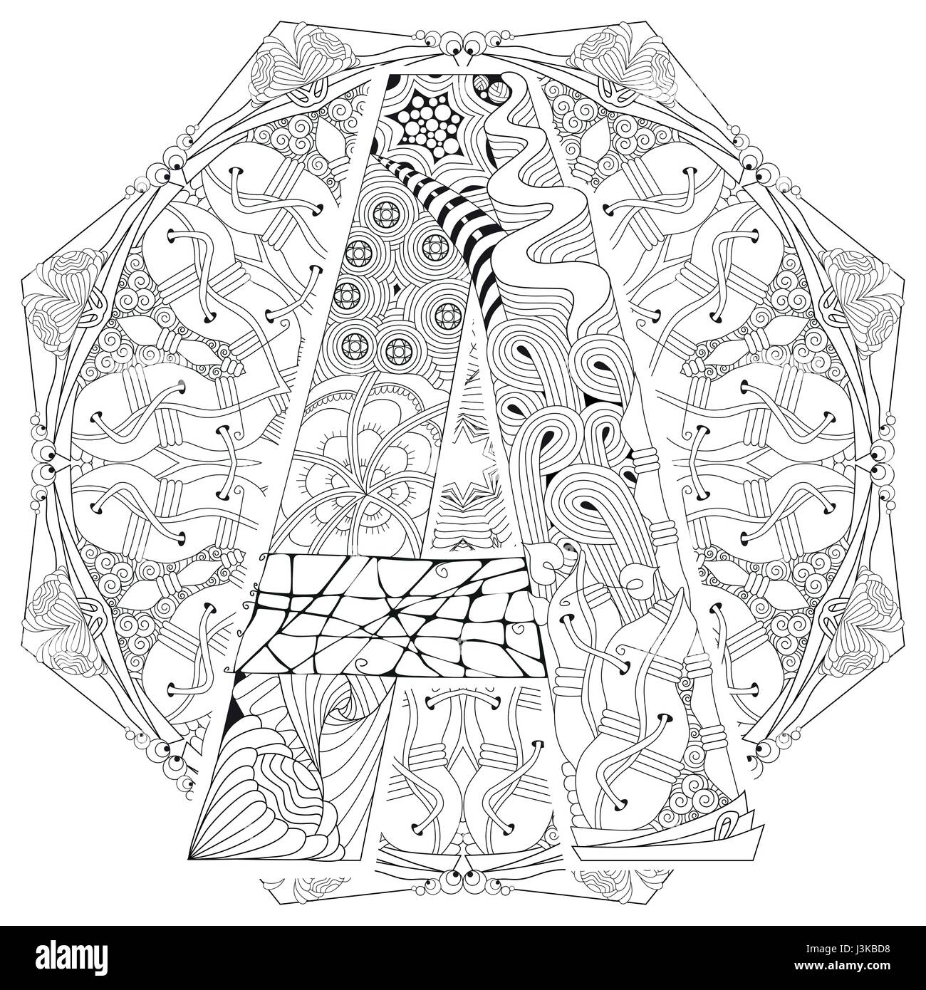 Mandala Con La Letra A Para Colorear Vector Zentangle
