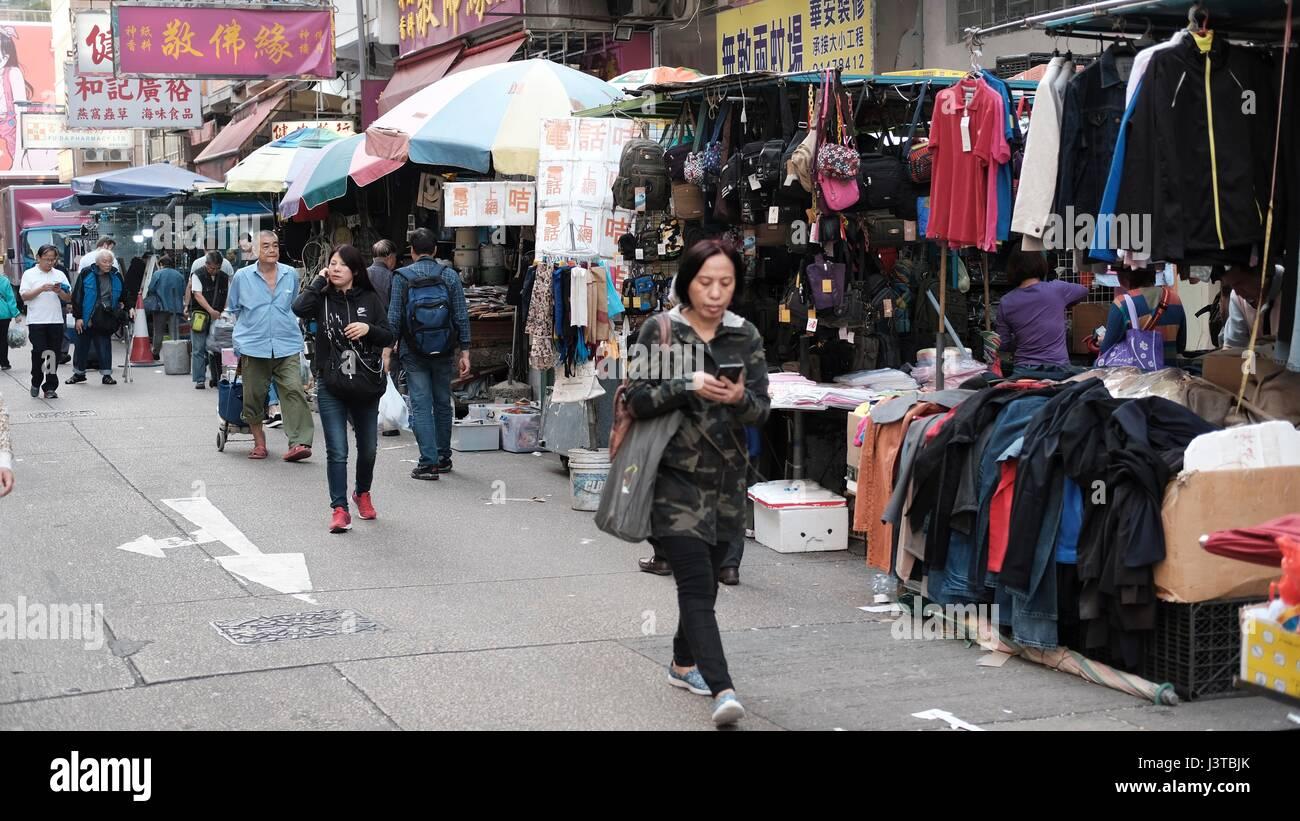 Mercadillo Sham Shui Po el más grande de Hong Kong, abierto todos los días durante todo el año Imagen De Stock