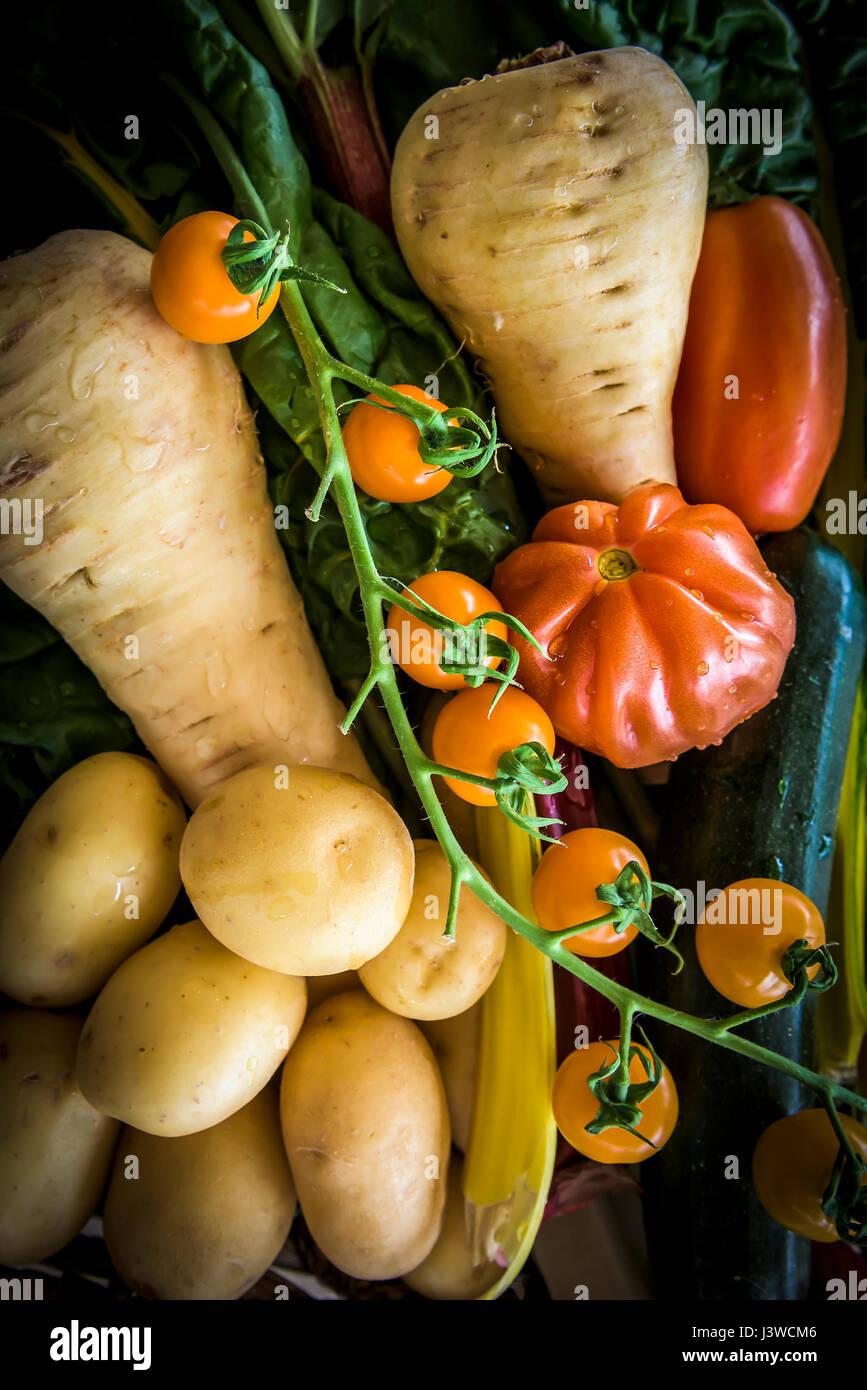 Diversas hortalizas frescas alimentos fuente de nutrición Ingredientes Tomates patatas chirivía ingredientes Imagen De Stock