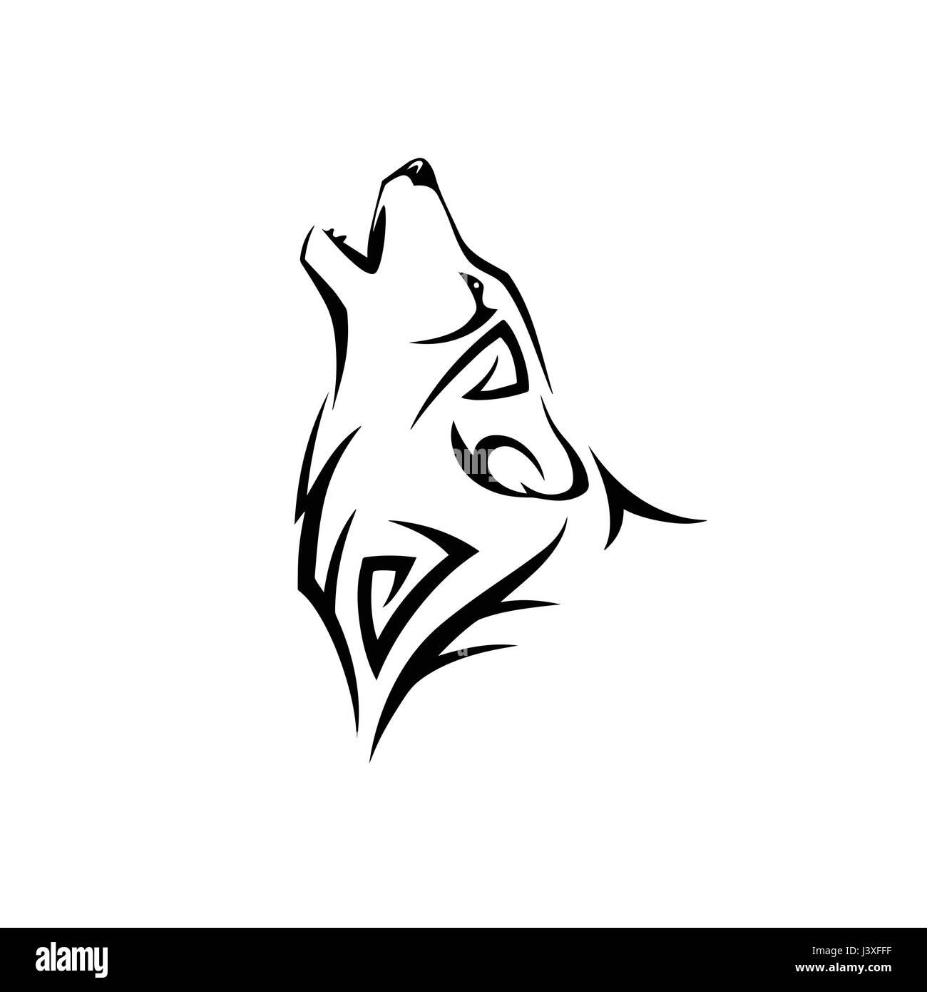 Lobo Aullando Diseño De Tatuaje Ilustración Del Vector Imagen