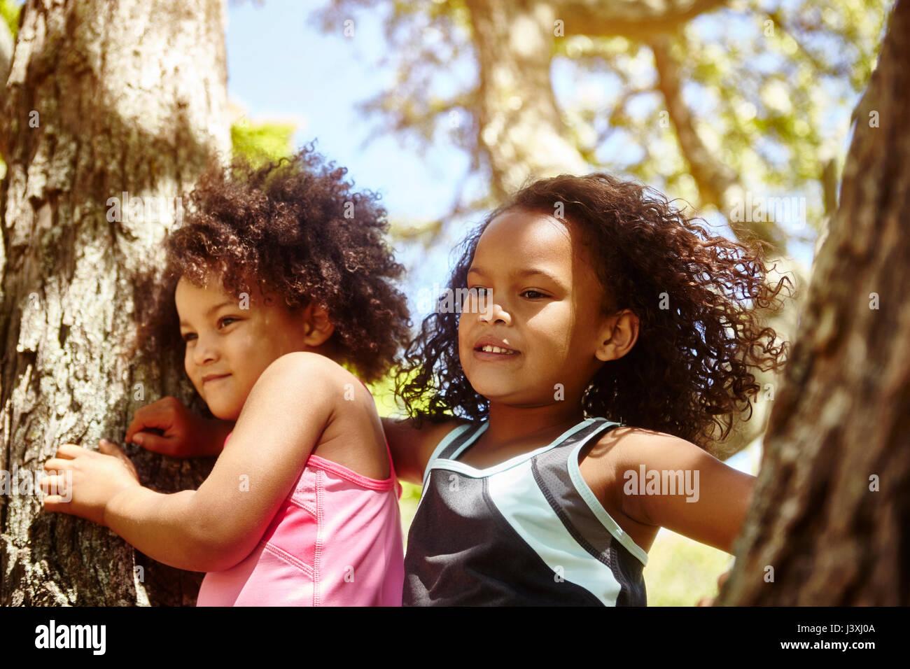Dos hermanas jóvenes jugando en el árbol Imagen De Stock