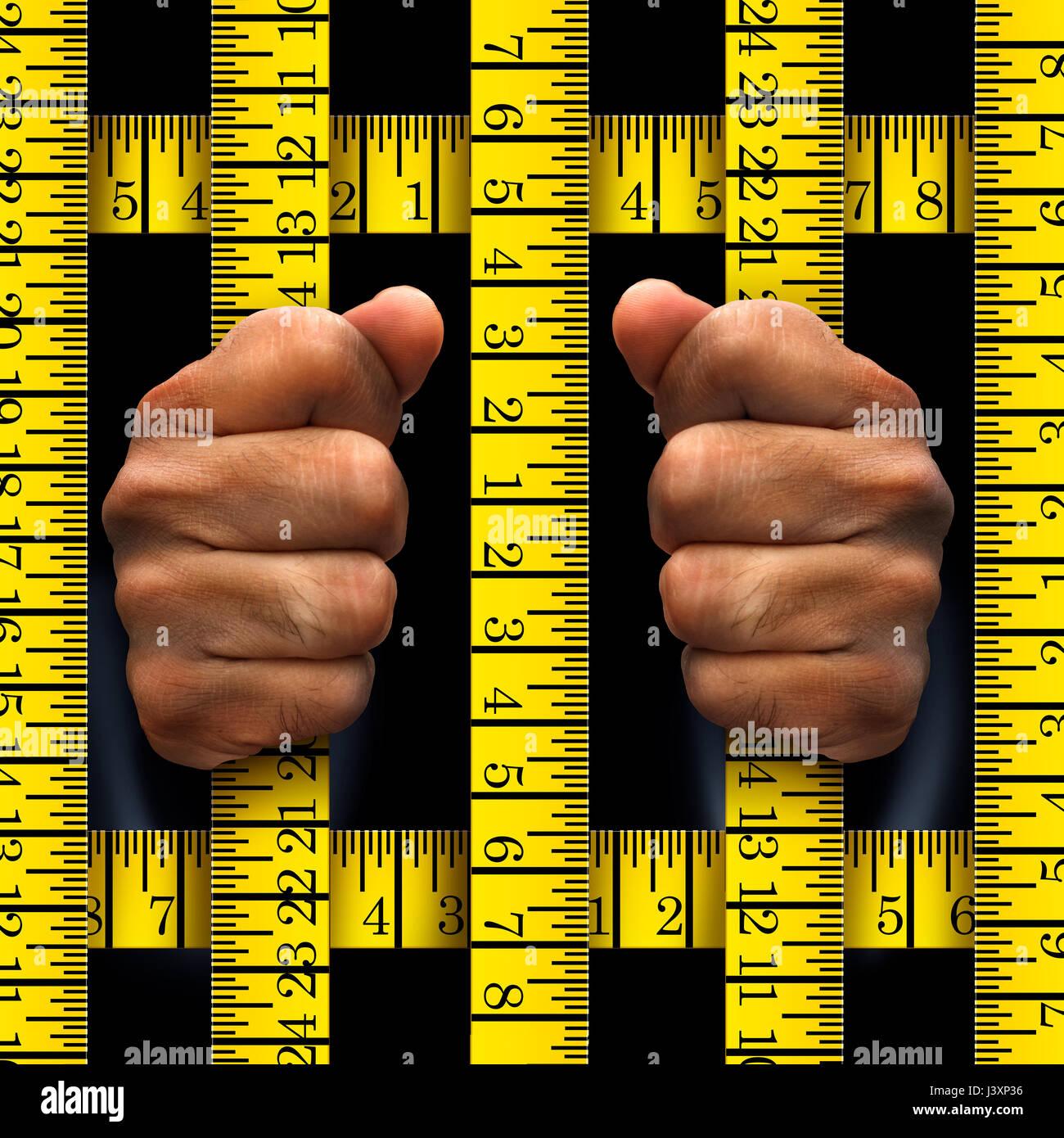 Adietando preso o Prison Food concepto y como una metáfora de la pérdida de peso y ejercicios para perder Imagen De Stock