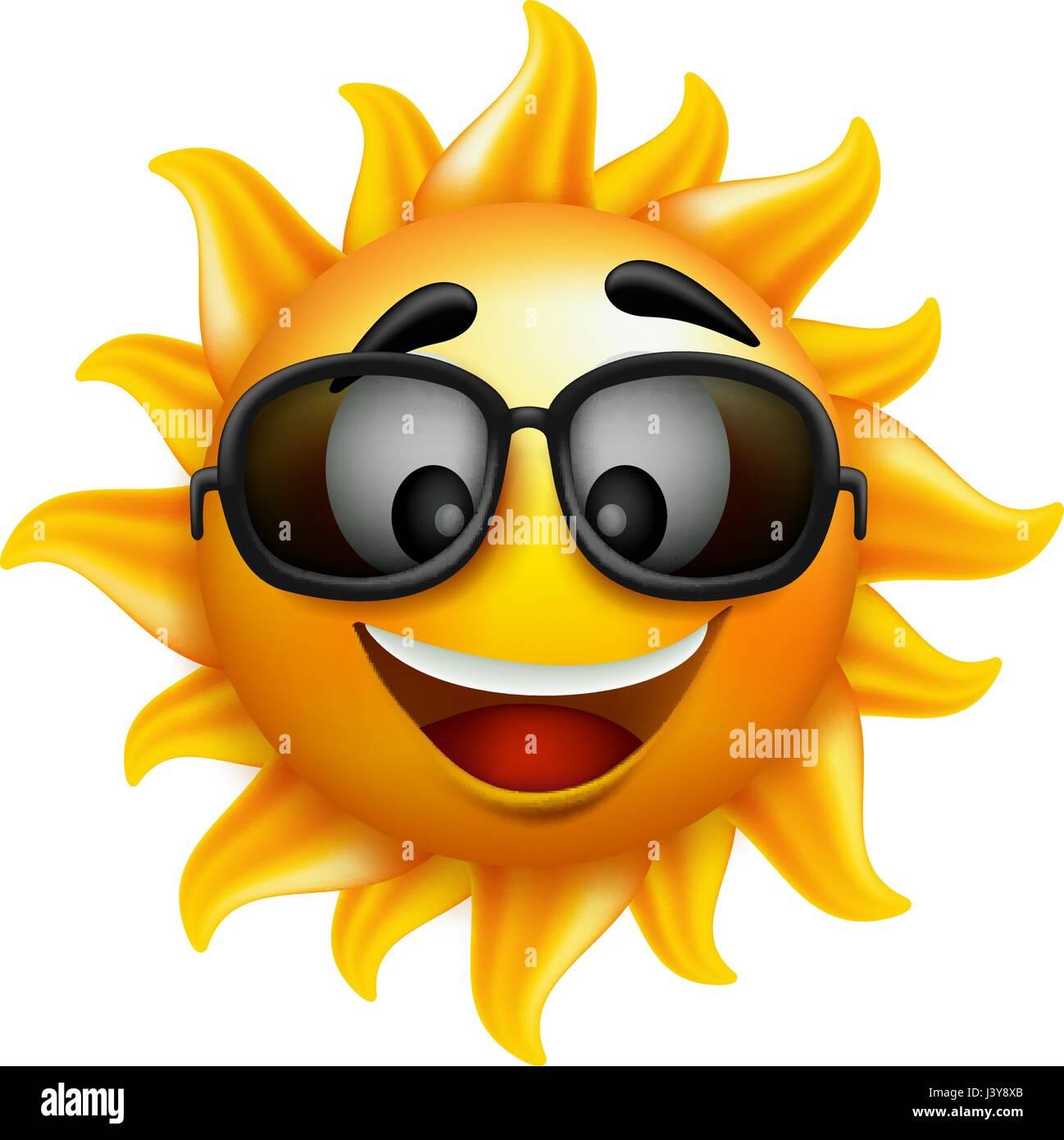 Sol de verano Cara con gafas de sol de diseño vectorial con carácter alegre  sonrisa aislado eeeba91c911