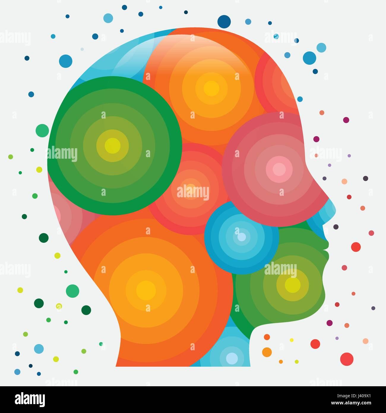 Colorido icono cabeza humana Imagen De Stock