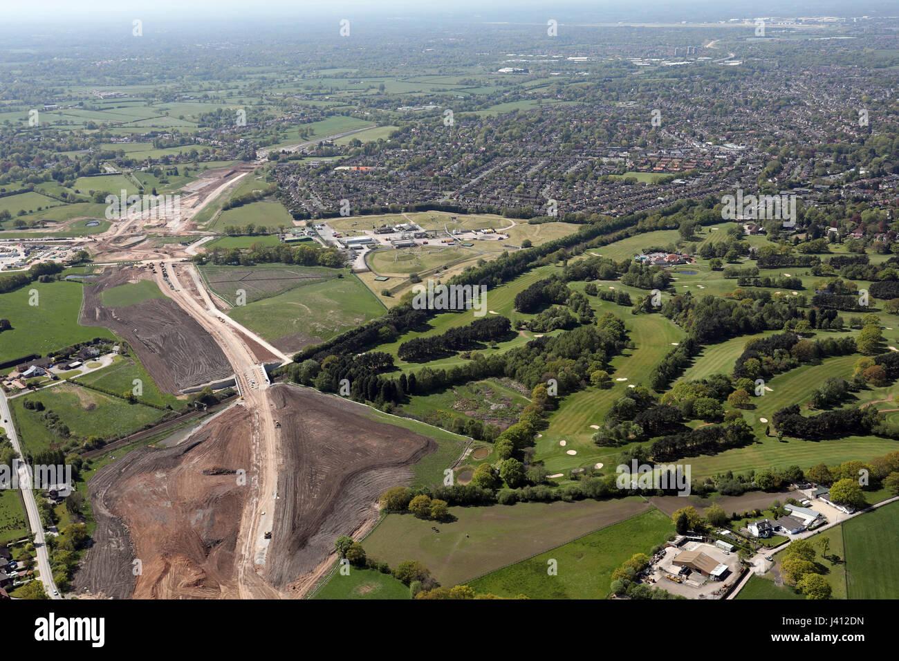 Vista aérea de la nueva carretera de enlace del aeropuerto de Manchester, Reino Unido Imagen De Stock