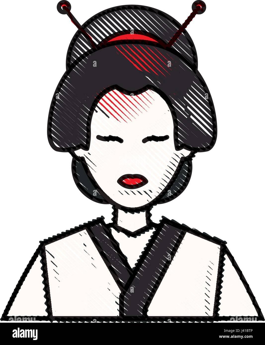 Dibujo Chica Japonesa De Carácter Tradicional De Geisha Costumen