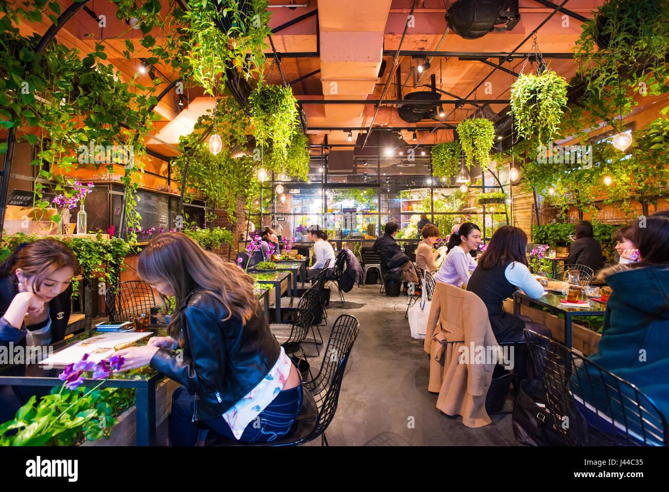 Mecenas de disfrutar de una comida en el interior del mercado de flores de Aoyama Tea House en Aoyama, Tokio, Japón Imagen De Stock
