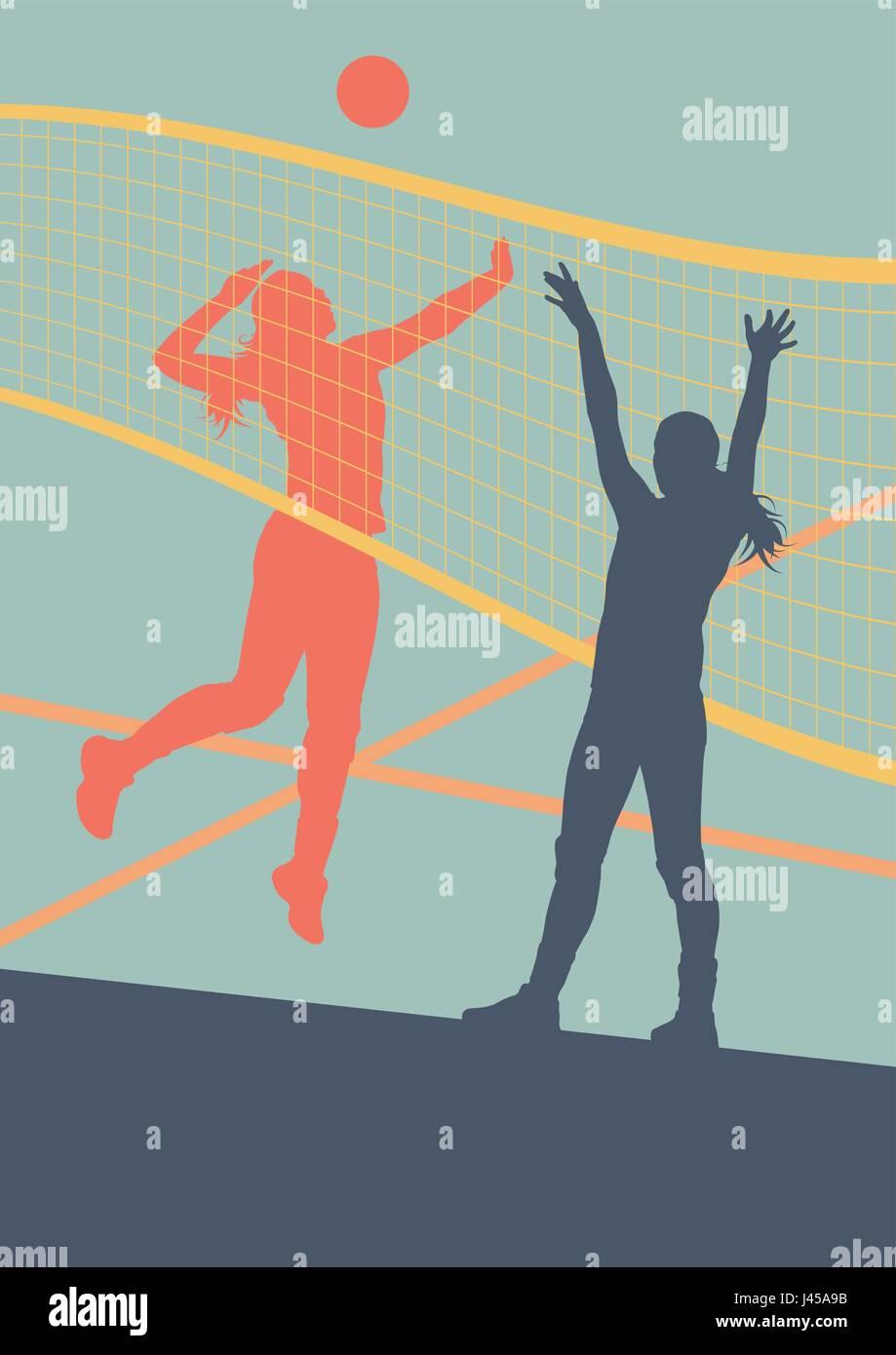 Mujer de voleibol jugador abstracto antecedentes vectoriales con net Imagen  De Stock daff4f7323e26