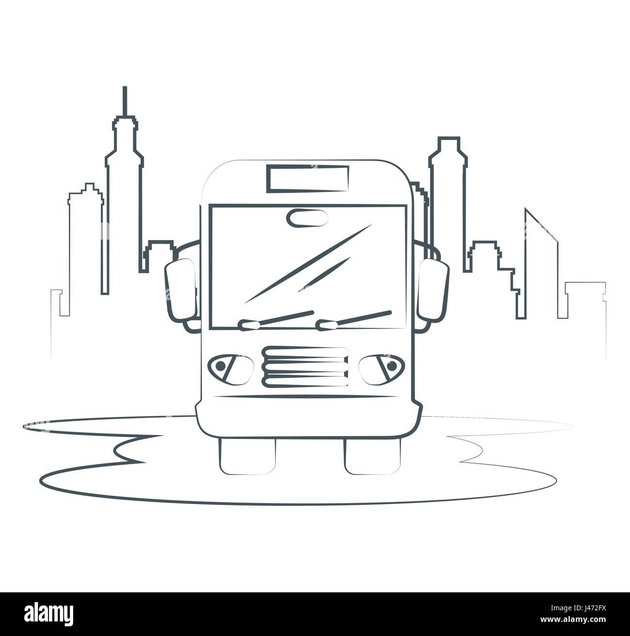 Icono de autobús dibujado a mano. Ilustración del Vector