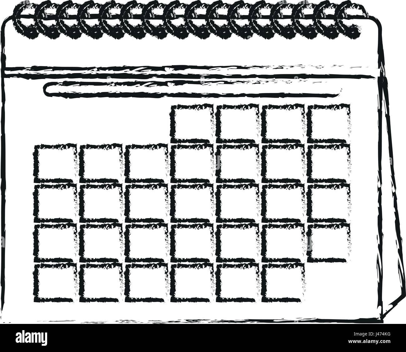 Calendario Dibujo Png.Silueta Borrosa Cartoon Calendario Con Espiral Ilustracion