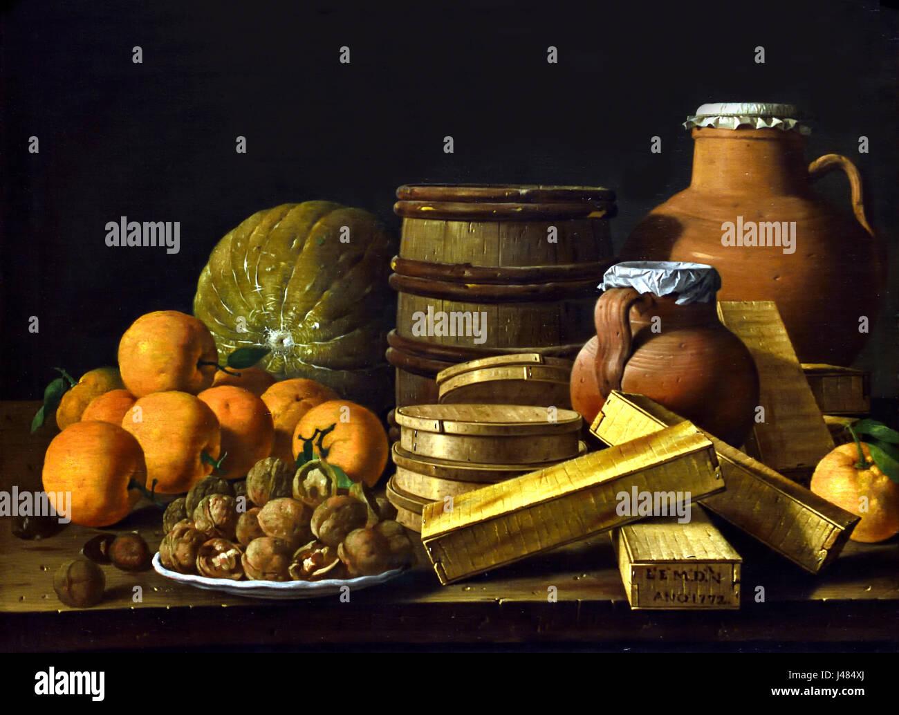 Bodegón con naranjas y las nueces 1772 Luis Egidio Meléndez Español España 1716-1740 Imagen De Stock