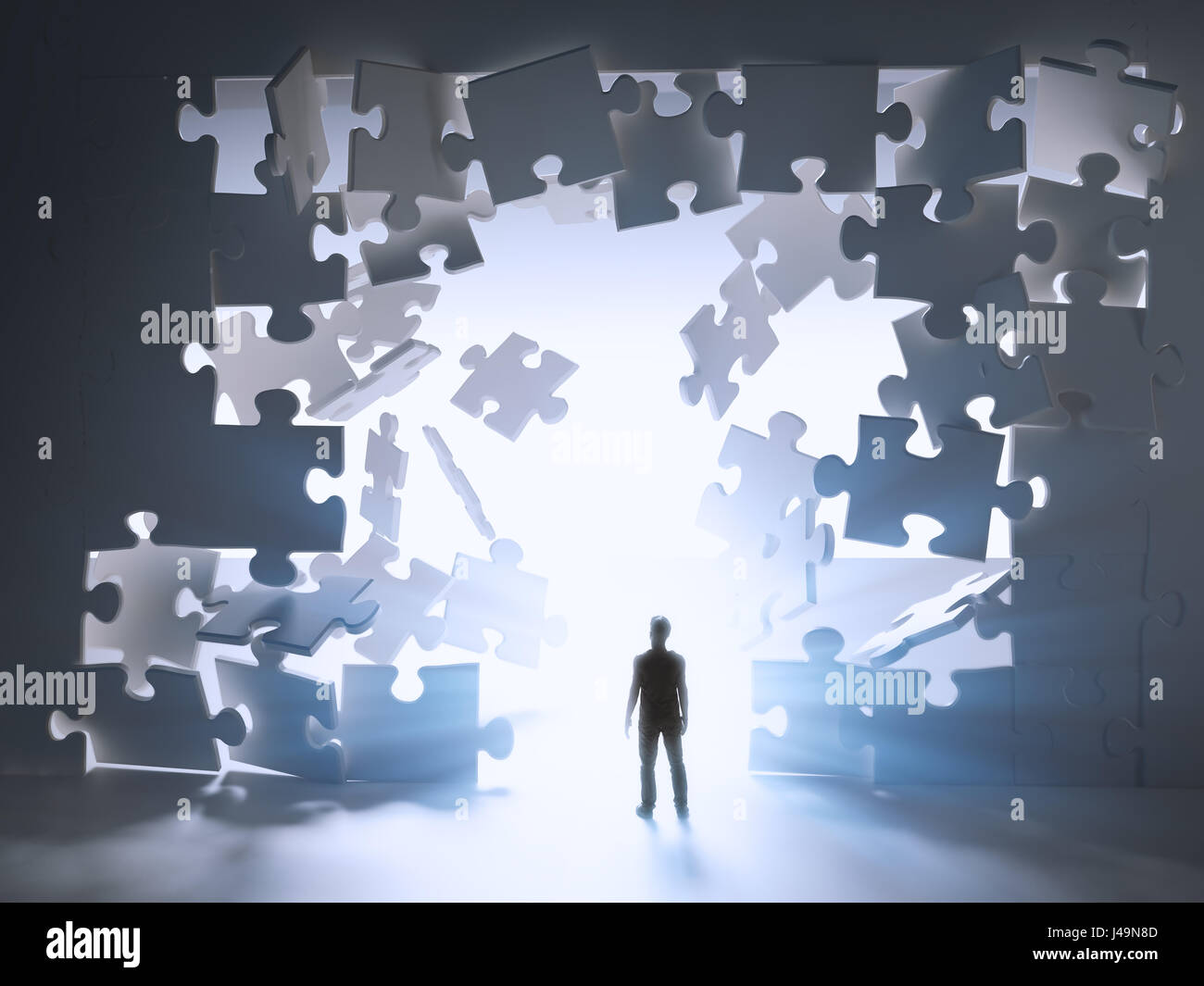 Hombre caminando mediante una interrupción en un rompe-cabeza wall - Ilustración 3D Imagen De Stock