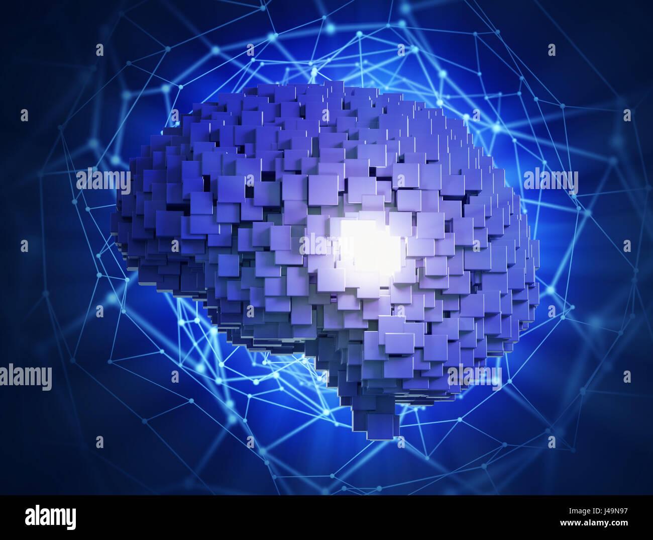 Concepto de inteligencia artificial -3D ilustración Foto de stock