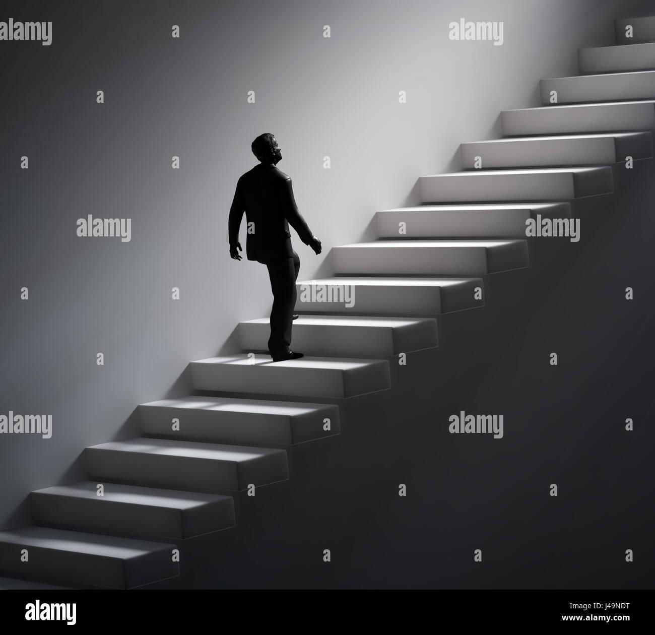 Hombre caminando por las escaleras hacia la luz - Ilustración 3d Imagen De Stock