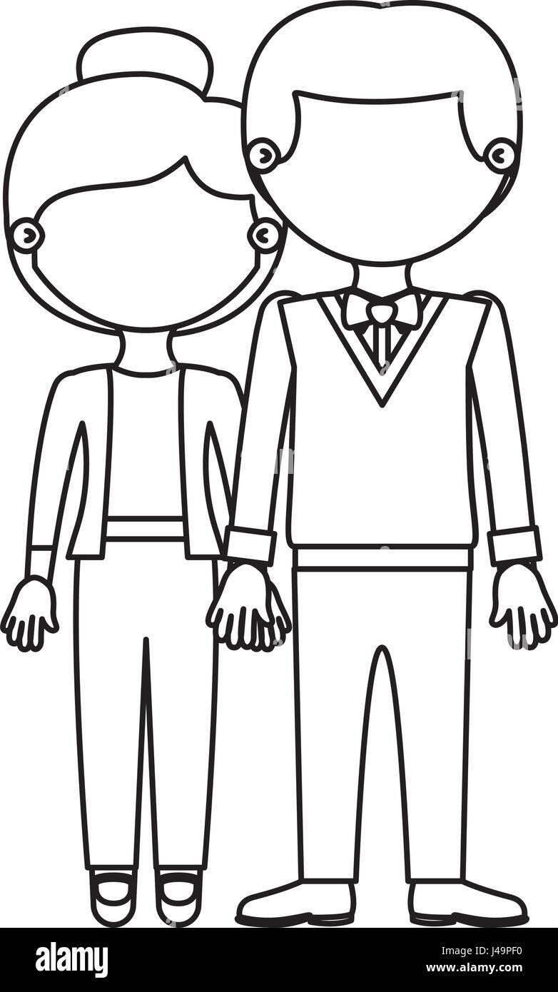 Dibujo Silueta Sin Rostro Pareja Mujer Con El Pelo Recogido Y Hombre