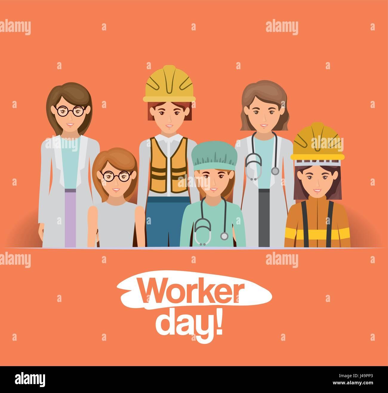 Dia Del Trabajador Mujeres tarjeta de coloridos con un grupo de mujeres trabajadoras en