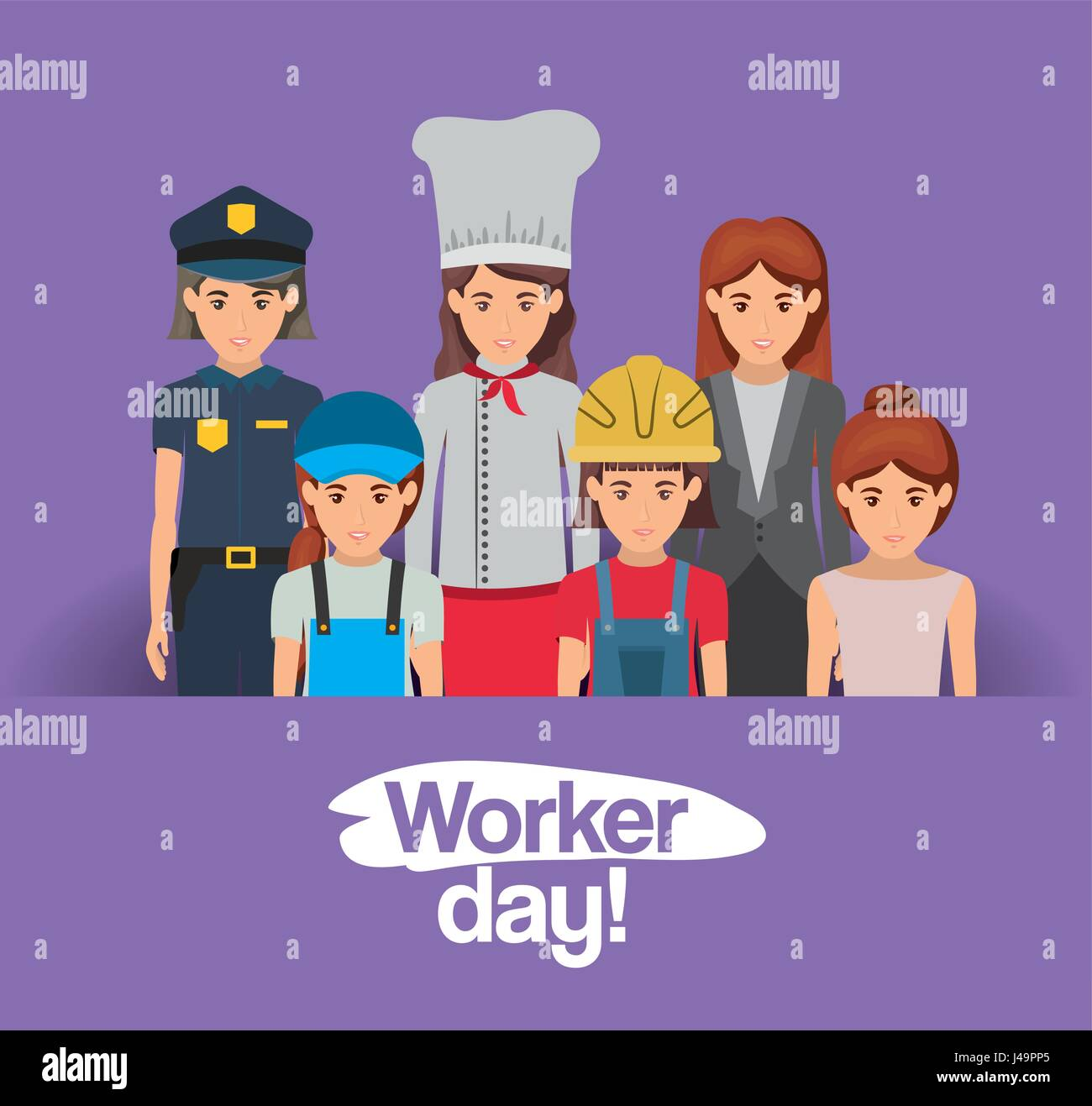 Dia Del Trabajador Mujeres tarjeta púrpura con un grupo de mujeres trabajadoras en el