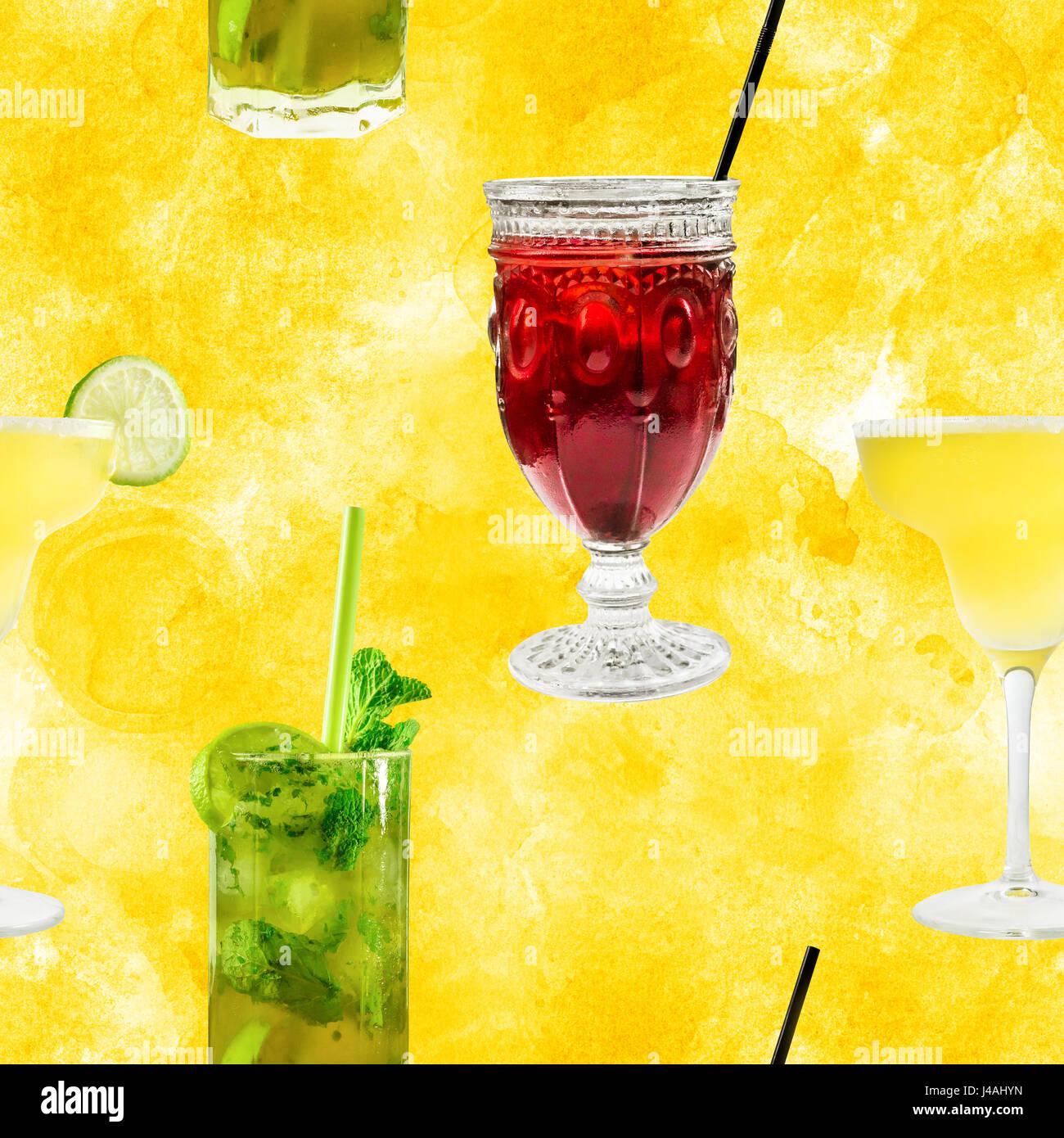 Patrón sin fisuras de cócteles vibrantes fotos en golden Imagen De Stock
