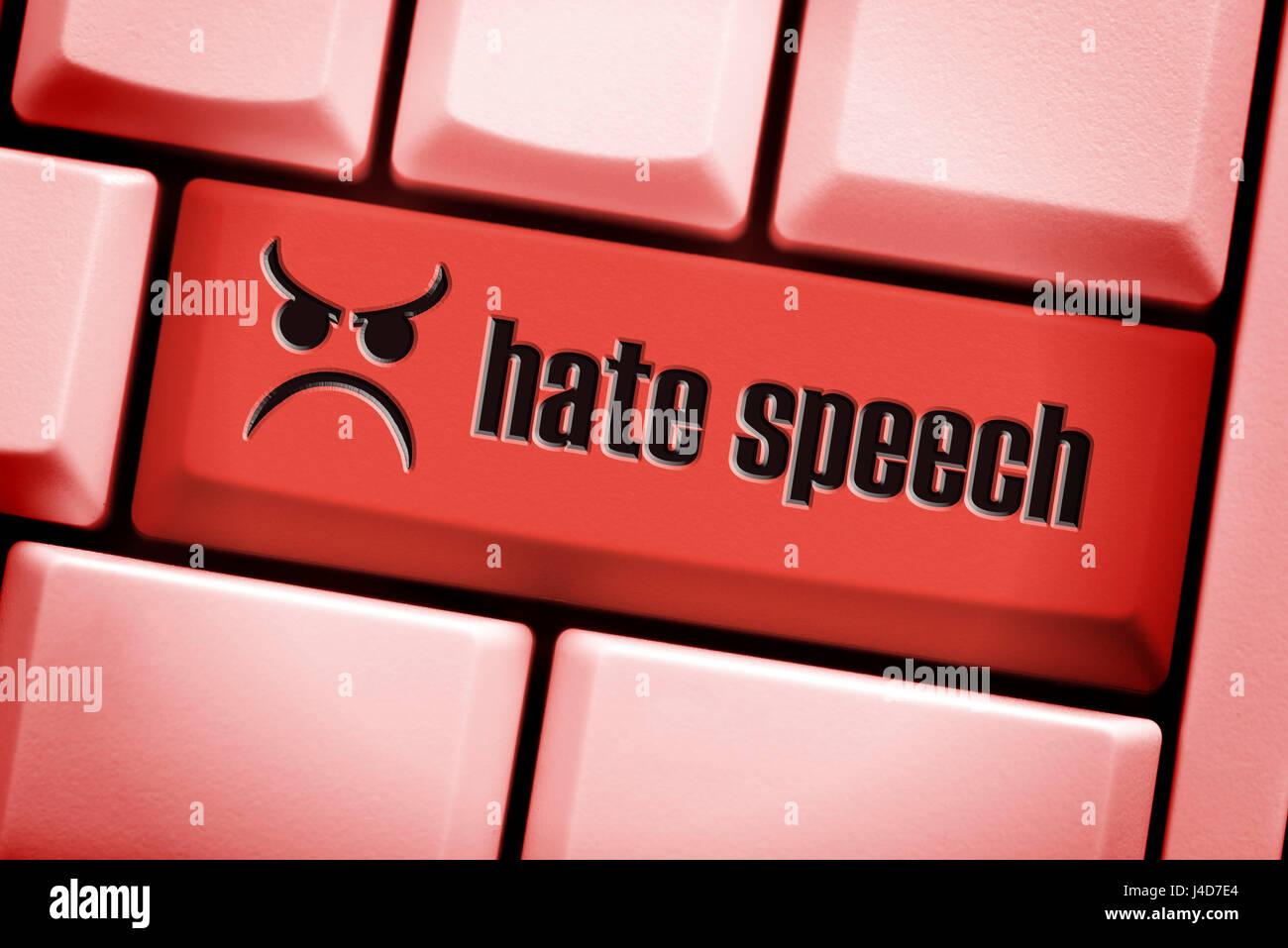 Equipo clave con la etiqueta del discurso del odio, el odio hablando sobre redes sociales, mit der Aufschrift Computertaste Imagen De Stock